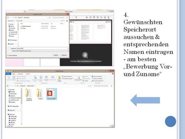 Bewerbung Word zu PDF Schritt 3