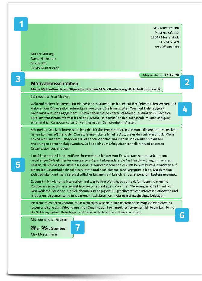 Aufbau Motivationsschreiben Stipendium Beispiel