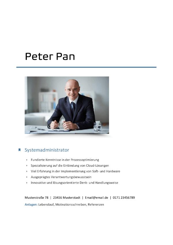 Deckblatt Systemadministrator