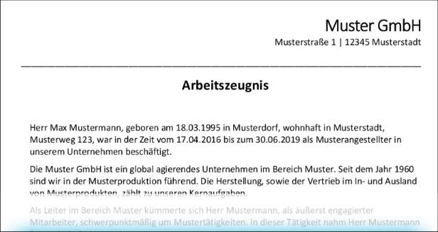 Qualifiziertes Arbeitszeugnis - Briefkopf & Überschrift