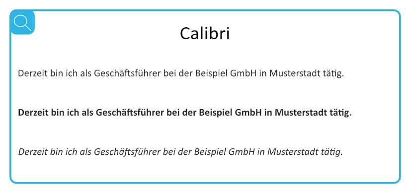 Beispiel für geeignete serifenlose Schriften - Calibri