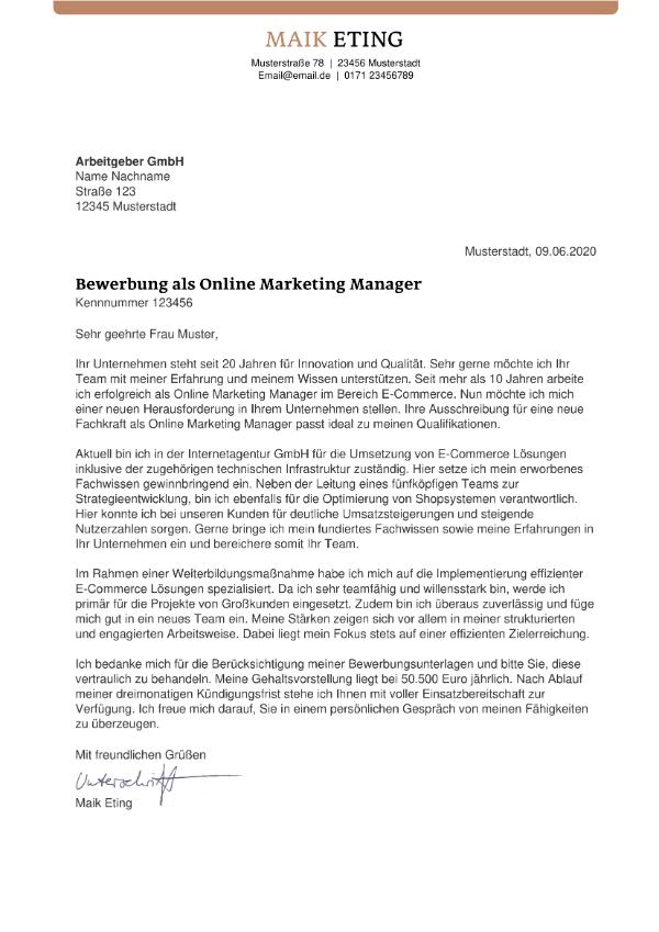 Anschreiben Online Marketing Manager