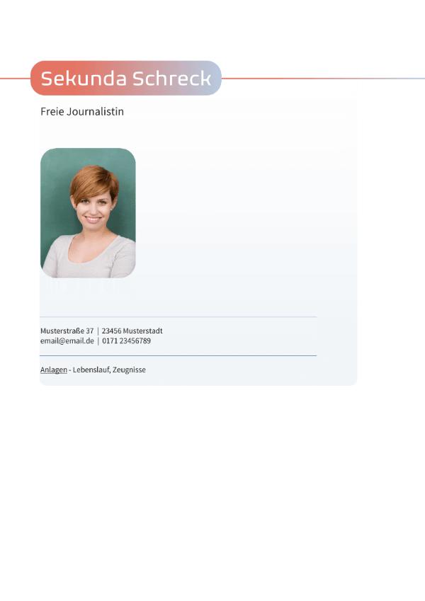 Bewerbungsvorlage Volontariat - Deckblatt