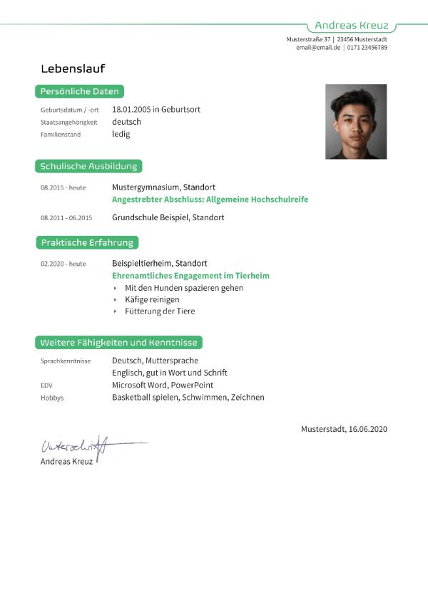 Bewerbungsvorlage Schülerpraktikum - Lebenslauf