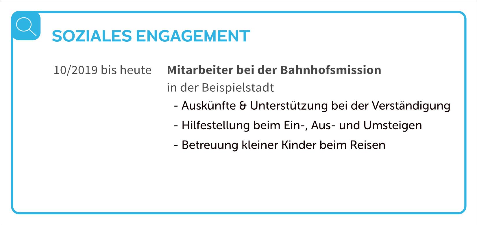 Lebenslauf Soziales Engagement
