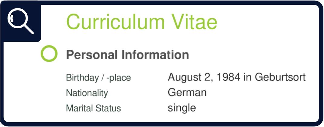 CV - Personal Information