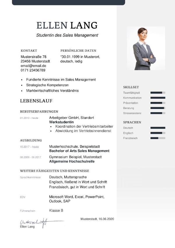 Bewerbungsvorlage Berufseinstieg - Lebenslauf
