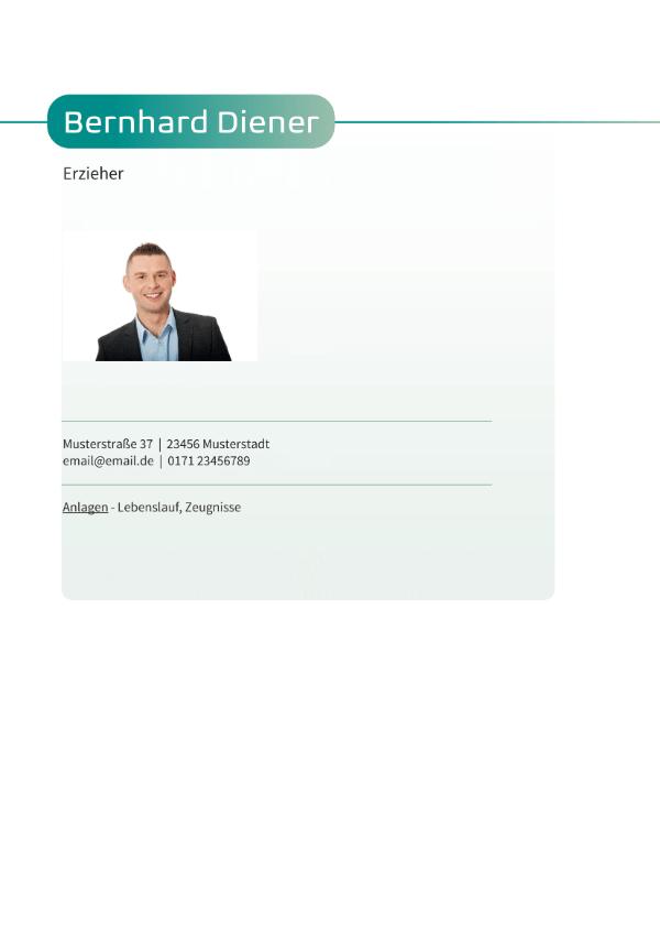 Bewerbungsvorlage Frisch - Deckblatt